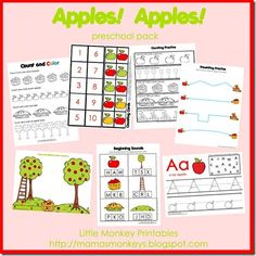 """Apples! Apples!"" Preschool Pack (from Our Little Monkeys)"
