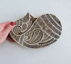 Huge Paisley Stamp: Clay Stamp, Hand Carved Wood Stamp, Large Indian Textile Printing Block, Ceramics Pottery Stamp, Bohemian India Decor by DelhiDaze on Etsy