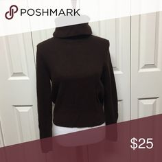 100% cashmere turtle neck by Anne Klein Who doesn't love a 100% cashmere turtle neck? This dark brown color will flatter any figure. Sweaters Cowl & Turtlenecks