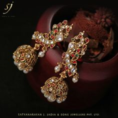 """-""""The Elegant Pearl-Gems' set Peacock Jhumkas"""" India Jewelry, Gold Jewelry, Jewelery, Pendant Jewelry, Gold Pendent, Gold Earrings Designs, Indian Wedding Jewelry, Big Earrings, Sabyasachi"""