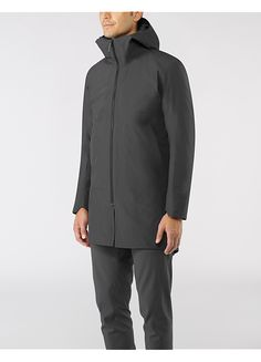 Monitor Coat Men's Lightweight thigh-length coat with ample storage options and an adjustable storm hood. Packs easily into an included compact stuff sack and constructed from GORE-TEX® Pro.
