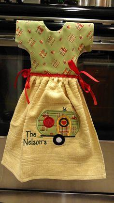 Custom Camper Hanging Dress Towel by TheBeeBobbinMom on Etsy - Towel Apron, Towel Dress, Apron Dress, Dish Towel Crafts, Dish Towels, Sewing Crafts, Sewing Projects, Custom Campers, Crochet Towel