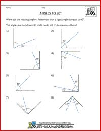 Missing Angles to 90 degrees, 5th grade geometry and other FREE printable math worksheets!
