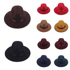 0e63a35ee6f Men Women Hard Felt Panama Wool Jazz Fedora Trilby Wide Brim Hat Cap Navy   Unbrand