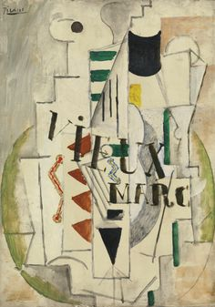 PABLO PICASSO 1881-1973 GUITARE, VERRE, BOUTEILLE DE VIEUX MARC Signed Picasso (upper left) Oil on canvas 18 1/8 by 13 1/4 in. 46.2 by 33.7 cm Painted in Summer 1912.