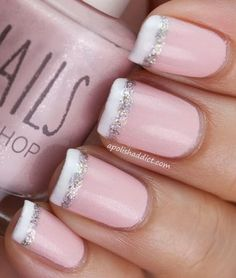 pink nail polish with white tips with a silver glitter stripe