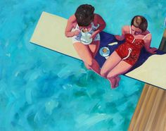 """""""Diving Board Tea for Two"""", TS Harris, 40 x 50, Oil on Canvas, Eisenhauer Gallery"""