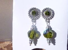 Olivine Crystals and Sterling Silver Drop Earring