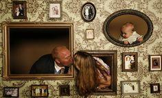 cute photo booth idea--i like the idea of family photos hanging on the board too