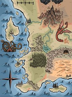 I was recently commissioned to make a friend's D&D map--thought you guys might get a kick out of it! Fantasy Map Making, Fantasy World Map, Fantasy Rpg, Map Sketch, Rpg Map, Asgard, Map Projects, Map Painting, Dungeon Maps