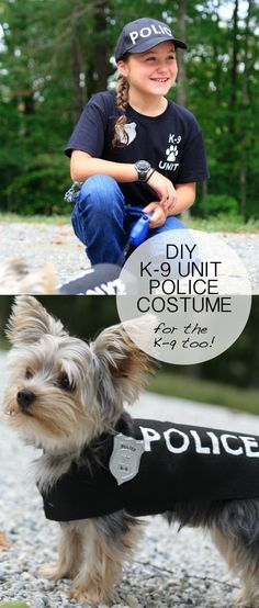 DIY Halloween Costume Idea - K-9 Police Officer Uniform and badge and matching dog costume Michaelsmakers Lil Blue Boo