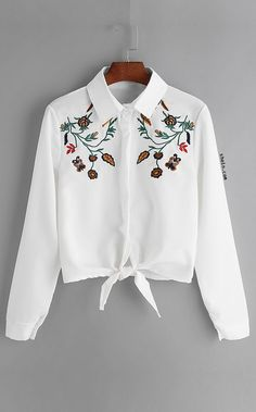 ROMWE Women White Flower Embroidered Tie Front Shirt Autumn Casual Womens Tops and Blouses Lapel Long Sleeve Shirt Trendy Outfits, Summer Outfits, Girl Outfits, Cute Outfits, Hijab Fashion, Teen Fashion, Fashion Dresses, Mein Style, Shirt Embroidery