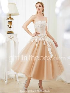 Ball Gown Strapless Tea Length Lace Satin Tulle Wedding Dress with Crystal Detailing Sashes/ Ribbons by LAN TING BRIDE® 2018 - $152.99