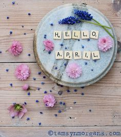 Hello April, how lovely to see you! This month we are going to… Paint eggs to make decorations Eat Mini Eggs (!) Plant vegetables and flowers on the allotment Get… Seasons Months, Months In A Year, Four Seasons, April Images, Welcome June, April Quotes, Hello September, March, Scrabble Letters