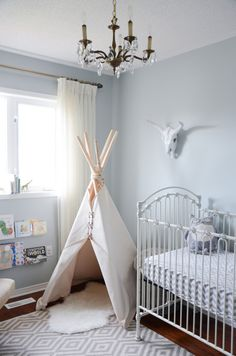 Gray Tribal-Themed Nursery with Teepee - Project Nursery