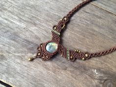 Micro macrame necklace labradorite stone boho par creationsmariposa, FREE SHIPPING US CAN $68.00
