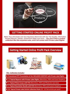 Getting Started Online PLR Profit Pack Quality, value packed and affordable private label getting started online content portfolio, jam-packed with premium PLR reports, essays, articles and graphics. All of it comes with our exclusive, profit-ready, viral PowerPoint presentations. We've done all the hard work for you! #internetmarketing #onlinebusiness #internetbusiness #homebusinessonline