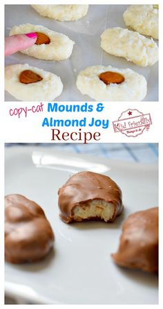 This Homemade Almond Joy and Mounds Bar Copy-Cat Recipe comes close to tasting just like the real candy bar. Perfect for a fun treat with the kids or Valentine's Day Treat. Homemade Caramel Recipes, Easy Candy Recipes, Chocolate Candy Recipes, Homemade Candies, Homemade Recipe, Fudge Recipes, Almond Joy Bars Recipe, Almond Recipes, Almond Bars