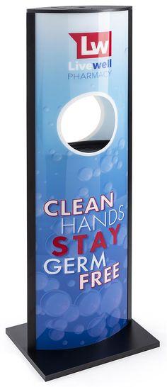 Hand Sanitizer Dispenser for Generic Gel, Floor Standing, Custom Graphics - Black Hand Sanitizer Dispenser, Flu Prevention, Types Of Printing, Graphic Design Services, Stand Design, Home Decor Furniture, Service Design, Workplace, Signage