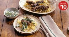spiced beef skewers with couscous