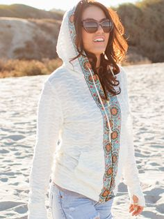 Sol Hoodie Sewing Pattern- add a border to a plain merino