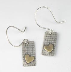 Sterling silver, brass, roll printed, tiny tag earrings. Mikelene's Jewelry on etsy