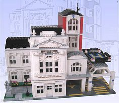 ) :: My LEGO creations. The final version of Mercy General. Every modular city needs one of these. Lego Hospital, City Hospital, Casa Lego, Lego Structures, Lego Village, Lego Creative, Lego Boards, Lego Modular, Lego Castle