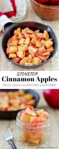 These Stovetop Cinnamon apples taste like a warm apple pie, but they come together in a fraction of the time and are SO much healthier! This recipe is gluten-free, dairy-free, refined sugar free, vegan AND paleo! Perfect for breakfast, a snack, or dessert