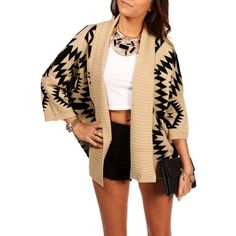 Taupe/Black Tribal Print Knit Sweater ($15) ❤ liked on Polyvore featuring tops, sweaters, outfits, full outfits, models, tribal knit sweaters, tribal aztec sweater, three quarter sleeve tops, aztec top and taupe sweater