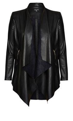 Pleather Drape Jacket - New BLACK | CityChicOnline.com