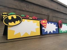 Items similar to Super Hero Tent Cards*Place Cards*Marvel* Batman* Bachelor Party* Superhero Baby Shower* Superman* Spiderman* Pow* Comic Book* Teen Party on Etsy Baby Avengers, Avengers Birthday, Superhero Birthday Party, Batman Party, Boy Birthday, Birthday Parties, Comic Book Parties, Comic Party, Superhero Baby Shower