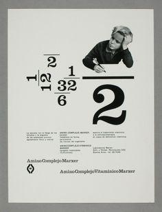 Amino Complejo Vitaminico Marxer, 1956-1958  Design: René Martinelli