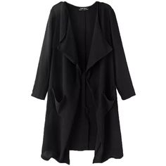 Black Womens Casual Wide Lapel Long Sleeves Trench Coat ($53) ❤ liked on Polyvore