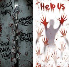 zombie door covers decorations props - Zombie Halloween Decorations