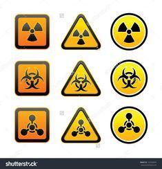 Sci-Fi Material Hazard Law | Set Hazard Warning Radioactive Symbols - Radiation - Chemical ...