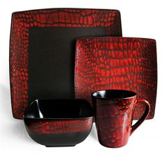 Known for it's fashion forward designs and quality craftsmanship, The Boa Red American Atelier set will do wonders for all your casual dinnerware needs.