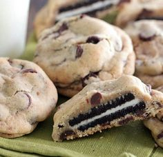 Oreo Stuffed Chocolate Chip Cookies http://www.recipes-fitness.com/oreo-stuffed-chocolate-chip-cookies/