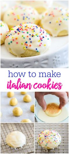 wedding cookies Italian Cookies - these soft round cookies are dipped in creamy glaze, then topped with colorful sprinkles. A fun cookie for any occasion, and especially for holidays. Dessert Party, Oreo Dessert, Dessert Recipes, Pastries Recipes, Italian Wedding Cookies, Mexican Wedding Cookies, Italian Cookies, Wedding Cookie Recipes, Sweets