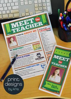 Meet the teacher newsletter or brochure file. Easy to use and print for back to school night or to send home to parents.