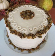 this is a beautiful cake for the fall season, you can use both pumpkin and squash or just one or the other. I am not Vegan and I must admit that most vegan food does not appeal to me, but this was both delish and beautiful, so pretty in-fact i hated to cut it up. It is a little work but well worth it, especially if your Vegan.
