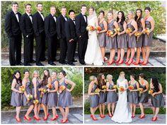 Beautifully Classic Orange and Grey Wedding