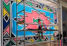 Esther Mahlangu Creates Murals For Virginia MFA - Burnaway Afro Punk Fashion, Garden Mural, Graffiti Wall Art, South African Artists, Museum Of Fine Arts, Art Club, Murals, Art Gallery, Virginia