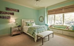 20 Bedroom Paint Ideas For Teenage Girls | For a more calming and refreshing look match white with muted mint green palette. It will definitely give your teen's bedroom a dainty and serene atmosphere.