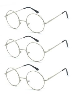 d6a537a27a 3PK Silver Metal Round Oval Reading Glasses Harry Potter John Lennon Style