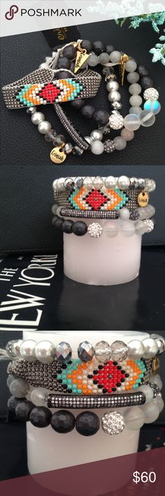NWT ERIMISH Beaded Bracelets (Set of 4) Woven seed beads and sparkling crystals mix to boho-glam effect in this set of four bracelets that look great styled as a stack. Color(s): black, platinum, silver. Brand: ERIMISH. Style Name: Erimish Beaded Bracelets (Set Of 4). - Woven seed beads is Sliding knot closure. Jewelry Bracelets