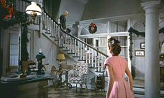"""""""White Christmas"""" movie house - General Waverly stairs.  Pinned from Hooked on Houses by Julia, 12-25-2015."""