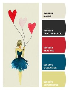 Paint colors from Chip It! by Sherwin-Williams - Perfect pops of fun color for your home! Love the Oceanside!