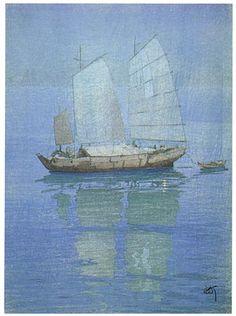 Sailing Boats, Night  by Hiroshi Yoshida, 1921