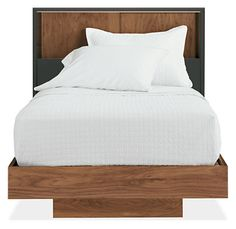 Mason Twin Bed with Sliding-Door Storage Headboard in Graphite with Walnut - Beds, Bunks & Lofts - Kids - Room & Board