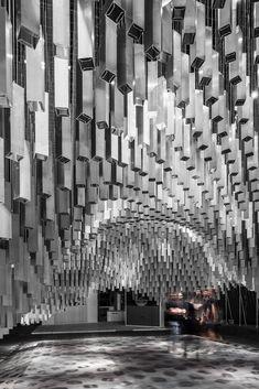 Gallery of Stand Alumilux / Jaime Prous Architects - 3 Gropius Bau, Interactive Exhibition, Pharmacy Design, Hotel Room Design, Lobby Interior, Memorial Museum, Space Architecture, Stand Design, Ceiling Design